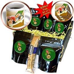 Mixed Sashimi II Coffee Gift Basket is measuring 9x9x4. Contains 15oz mug, BONUS free set of 4 coasters, biscotti and 5 blends of gourmet coffee.