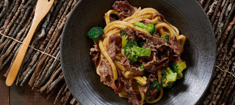 Beef and Broccoli Yakiudon Recipe