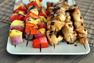 Grilled Honey Chicken and Veggie Kebabs